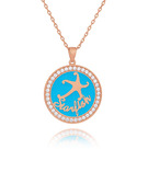 Custom 18k Rose Gold Plated 3D Engraved Necklace Circle Necklace With Star - Christmas Gifts