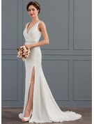 Trumpet/Mermaid V-neck Court Train Stretch Crepe Wedding Dress With Ruffle Split Front
