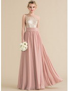 A-Line One-Shoulder Floor-Length Chiffon Sequined Bridesmaid Dress