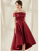 A-Line Off-the-Shoulder Asymmetrical Satin Cocktail Dress With Pockets