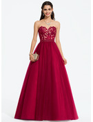 Sweetheart Sweep Train Tulle Prom Dresses With Beading Sequins