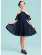 Square Neckline Knee-Length Lace Junior Bridesmaid Dress
