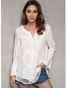 Long Sleeves Lace Cotton V Neck Blouses