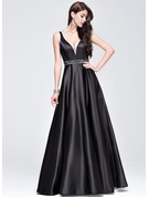 A-Line/Princess V-neck Floor-Length Satin Prom Dresses With Beading