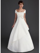 Off-the-Shoulder Floor-Length Stretch Crepe Wedding Dress With Ruffle Beading Flower(s) Sequins