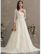 Ball-Gown/Princess V-neck Chapel Train Tulle Wedding Dress With Beading Sequins