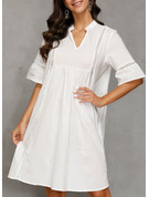 Lace Solid Shift V-Neck 1/2 Sleeves Midi Casual Vacation Tunic Dresses