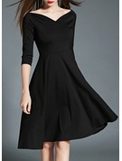 Polyester With Stitching/Crumple Knee Length Dress
