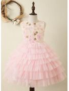 Ball-Gown/Princess Knee-length Flower Girl Dress - Tulle Sleeveless Scoop Neck With Embroidered/Ruffles/Flower(s)