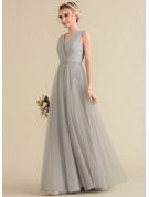 A-Line V-neck Floor-Length Tulle Lace Prom Dresses With Ruffle