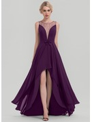 A-Line/Princess Scoop Neck Asymmetrical Chiffon Evening Dress With Sequins Bow(s)