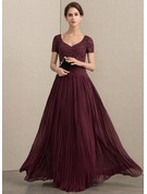 V-neck Floor-Length Chiffon Lace Mother of the Bride Dress