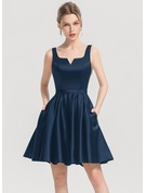 A-Line/Princess Square Neckline Short/Mini Satin Cocktail Dress