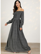 Sequins A-line Off the Shoulder Long Sleeves Lantern Sleeve Maxi Elegant Party Skater Dresses