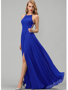 Scoop Neck Royal Blue Chiffon Dresses