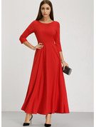 Cotton Blends With Resin solid color Maxi Dress