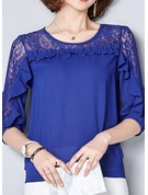 Plain 1/2 Sleeves Chiffon Round Neck Casual Blouses Blouses