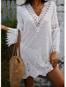 Lace Solid Shift V-Neck 3/4 Sleeves Flare Sleeve Midi Casual Vacation Tunic Dresses
