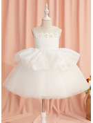 Ball-Gown/Princess Knee-length Flower Girl Dress - Organza/Tulle Sleeveless Scoop Neck With Beading/Flower(s)/Sequins/Bow(s)