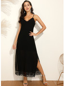 Polyester/Spandex With Lace/Solid Maxi Dress