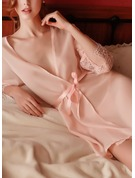 Non-personalized Polyester Bride Blank Robes Lace Robes