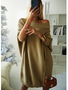 Round Neck Long Sleeves Solid Ribbed Casual Long Sweater Dresses