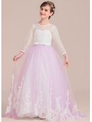 Ball-Gown Scoop Neck Floor-Length Tulle Lace Junior Bridesmaid Dress With Bow(s)