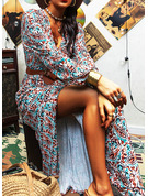 Print Sheath V-Neck Long Sleeves Maxi Boho Casual Dresses
