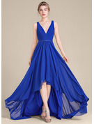 V-neck Asymmetrical Chiffon Bridesmaid Dress