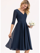 V-neck Knee-Length Chiffon Bridesmaid Dress With Pockets