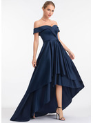 A-Linie Off-the-Schulter Asymmetrisch Satin Abendkleid