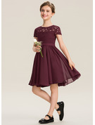 Scoop Neck Knee-Length Chiffon Lace Junior Bridesmaid Dress With Bow(s)