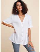 Manches courtes Coton Polyester Col V Blouses