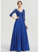 Ball-Gown/Princess V-neck Floor-Length Satin Evening Dress With Sequins