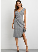 Cotton With Crumple/Slit/Plaid Knee Length Dress