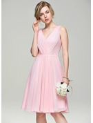V-neck Knee-Length Chiffon Bridesmaid Dress With Ruffle Beading Sequins