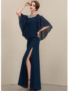 A-Line Square Neckline Floor-Length Chiffon Evening Dress With Beading Split Front