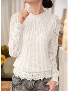 Plain Long Sleeves Lace Round Neck Casual Blouses Blouses