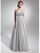 Empire Scoop Neck Floor-Length Chiffon Holiday Dress With Ruffle Beading
