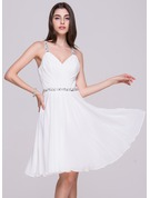 A-Line V-neck Knee-Length Chiffon Homecoming Dress With Ruffle Beading Sequins