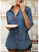 Lace Solid Sheath High Neck Shirt collar 1/2 Sleeves Midi Denim Casual Little Black Shirt Dresses