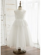 A-Line/Princess Tea-length Flower Girl Dress - Tulle/Lace Sleeveless Scoop Neck With Beading