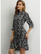 Polyester With Print/Crumple/Ruffles Knee Length Dress