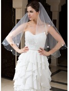 One-tier Fingertip Bridal Veils With Cut Edge/Beaded Edge
