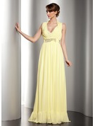 A-Line/Princess Halter V-neck Floor-Length Chiffon Holiday Dress With Ruffle Beading