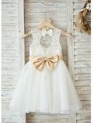 A-Line/Princess Knee-length Flower Girl Dress - Satin/Tulle/Lace Sleeveless Scoop Neck With Sash/Bow(s)/Back Hole