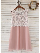 A-Line Knee-length Flower Girl Dress - Chiffon/Lace Sleeveless Scoop Neck