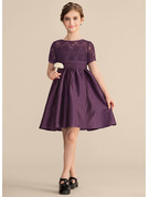 Scoop Neck Knee-Length Satin Lace Junior Bridesmaid Dress With Ruffle