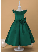 Ball-Gown/Princess Ankle-length Flower Girl Dress - Satin Short Sleeves Scoop Neck With Lace Beading Bow(s)