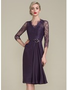 Sheath/Column V-neck Knee-Length Chiffon Lace Mother of the Bride Dress With Beading Flower(s) Sequins